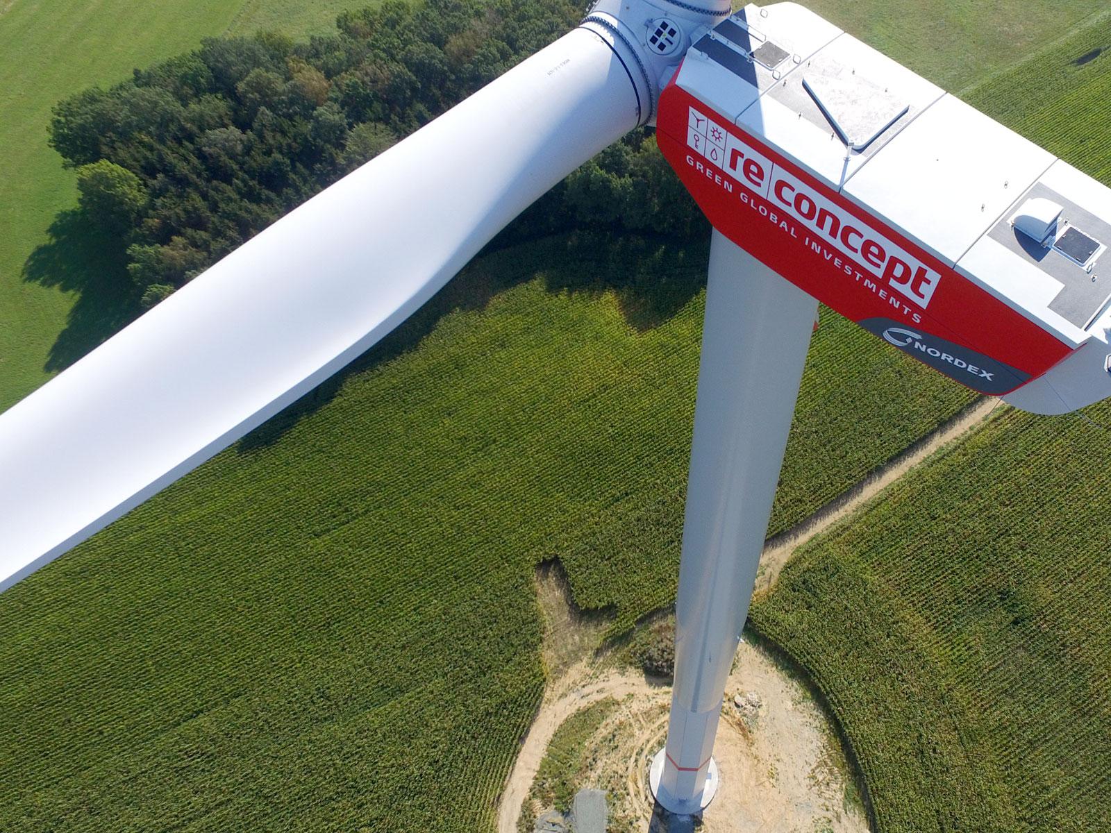 Die Windenergieanlage Pfaffengrün in Sachsen ist seit August 2016 in Betrieb. Sie ist die erste Investition der Emittentin der RE08 Anleihe der Zukunftsenergien von reconcept. / Foto: Unternehmen